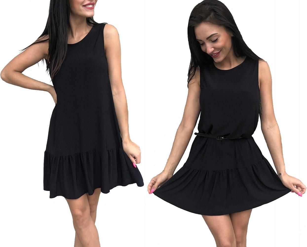zwiewna Letnia sukienka falbana Czarna 46 szyjemy
