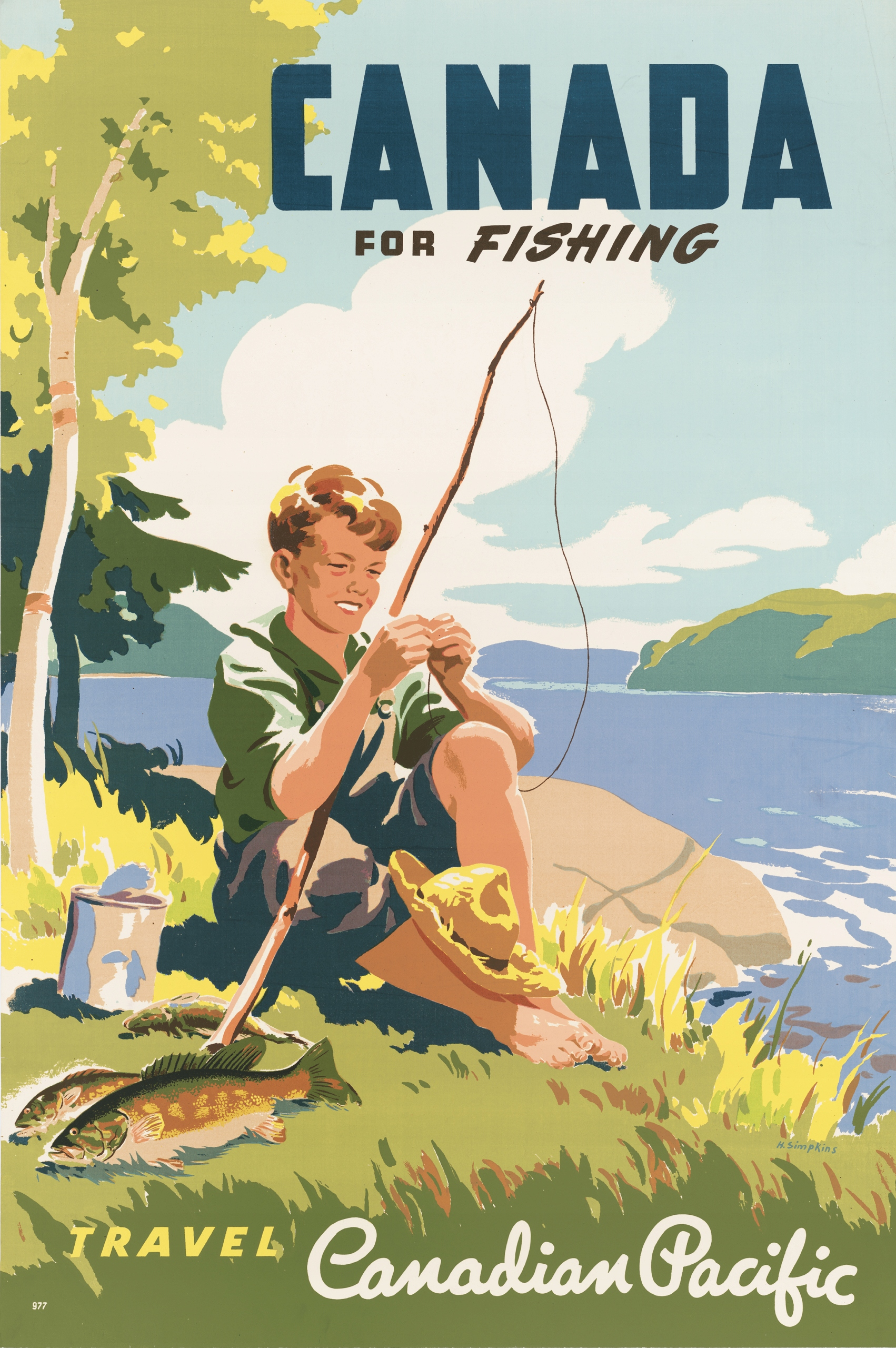 Item poster travel CANADA FISHING 90x61 see