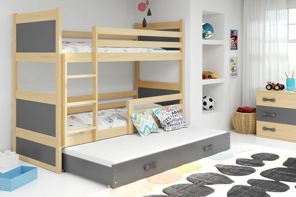 Łóżko Rico dla dzieci 190x80 piętrowe 3 osobowe Płeć Chłopcy Dziewczynki