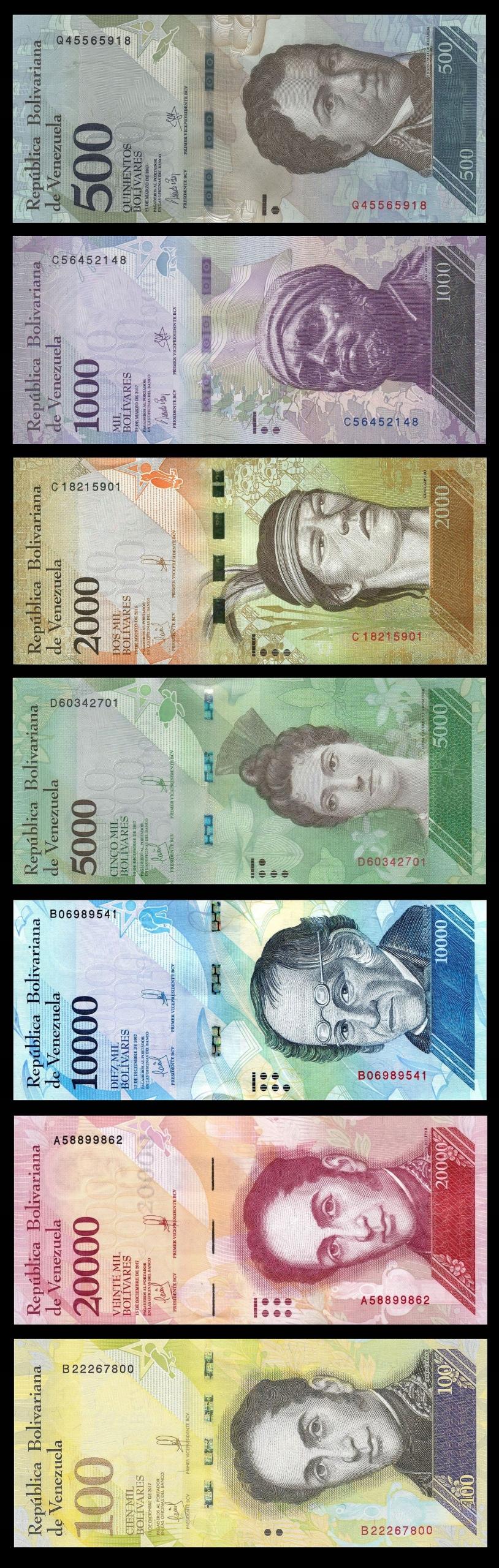 WENEZUELA 500+1000+2000+5000 10000+20000+100000 Bs