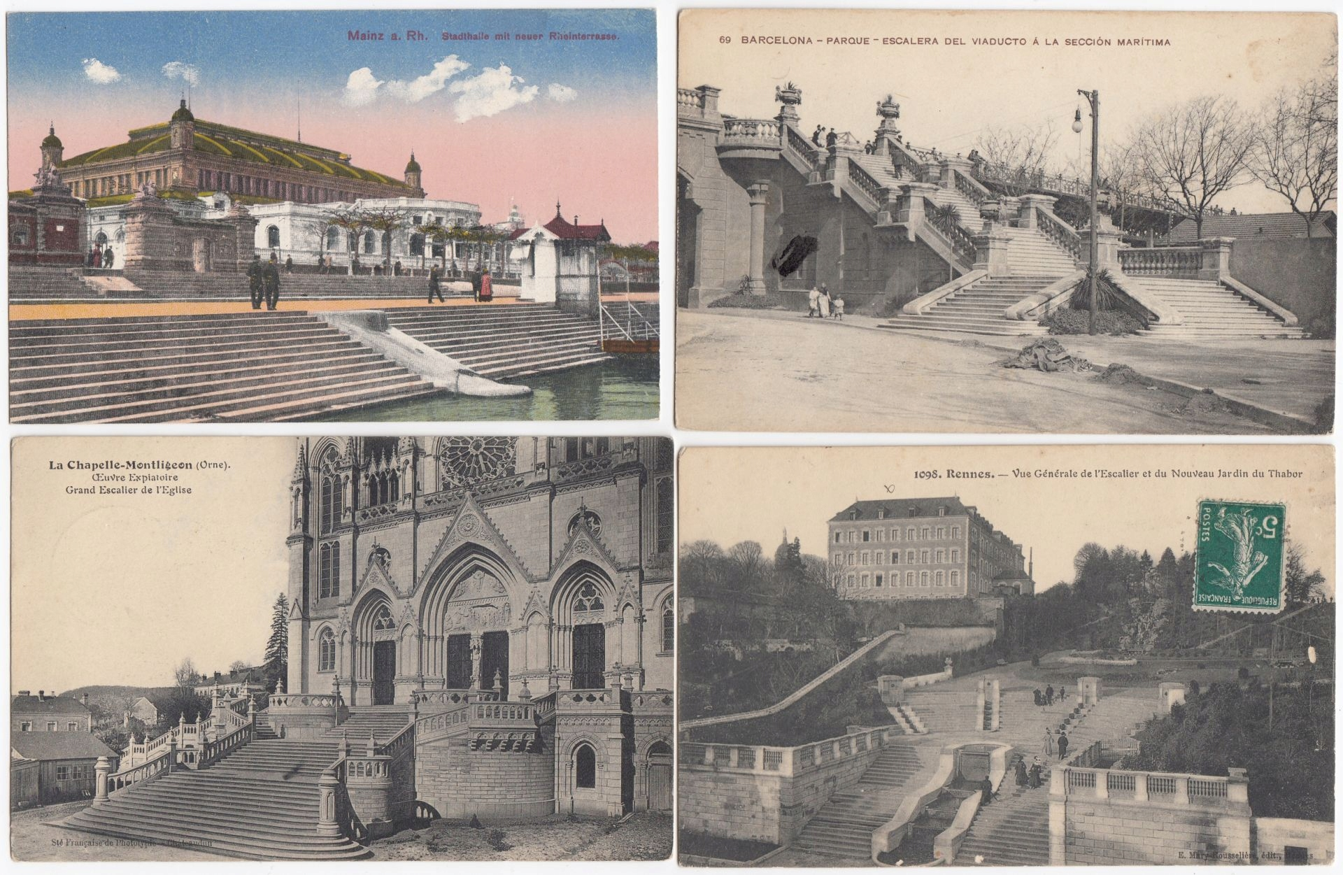 Stare pocztówki SCHODY ( 4 szt. ) 4S02