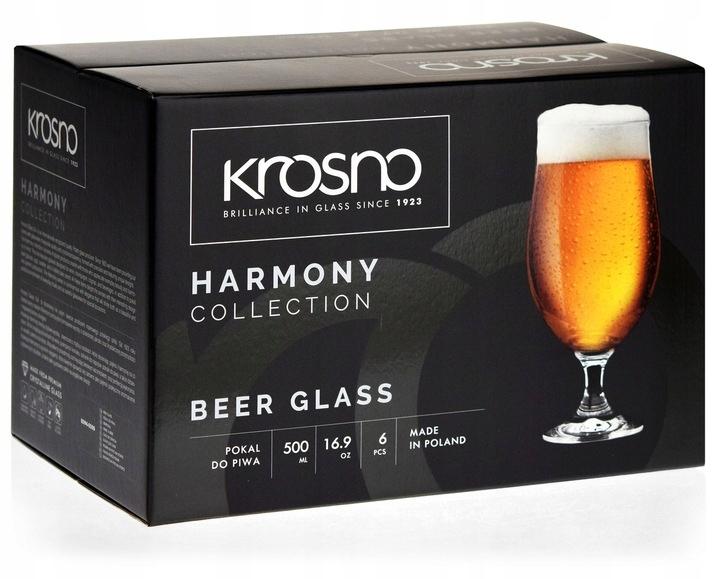 KROSNO Harmony pokale kufle szklanki do piwa 500ml