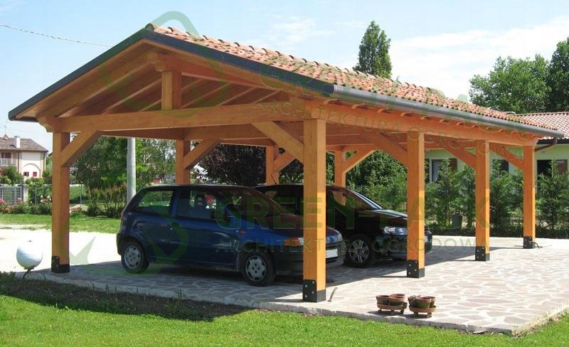Duża wiata garażowa. Garaż z drewna. Altana 6x10m