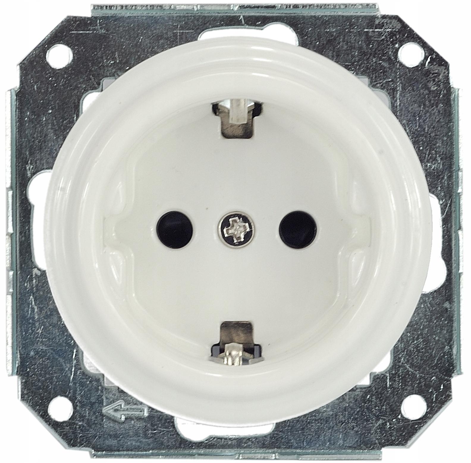 keramické biele schuko zásuvky 230V LOFT retro