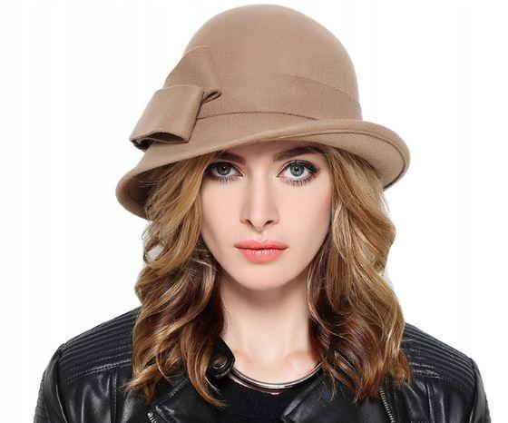 Vlna klobúk žien retro luk béžová