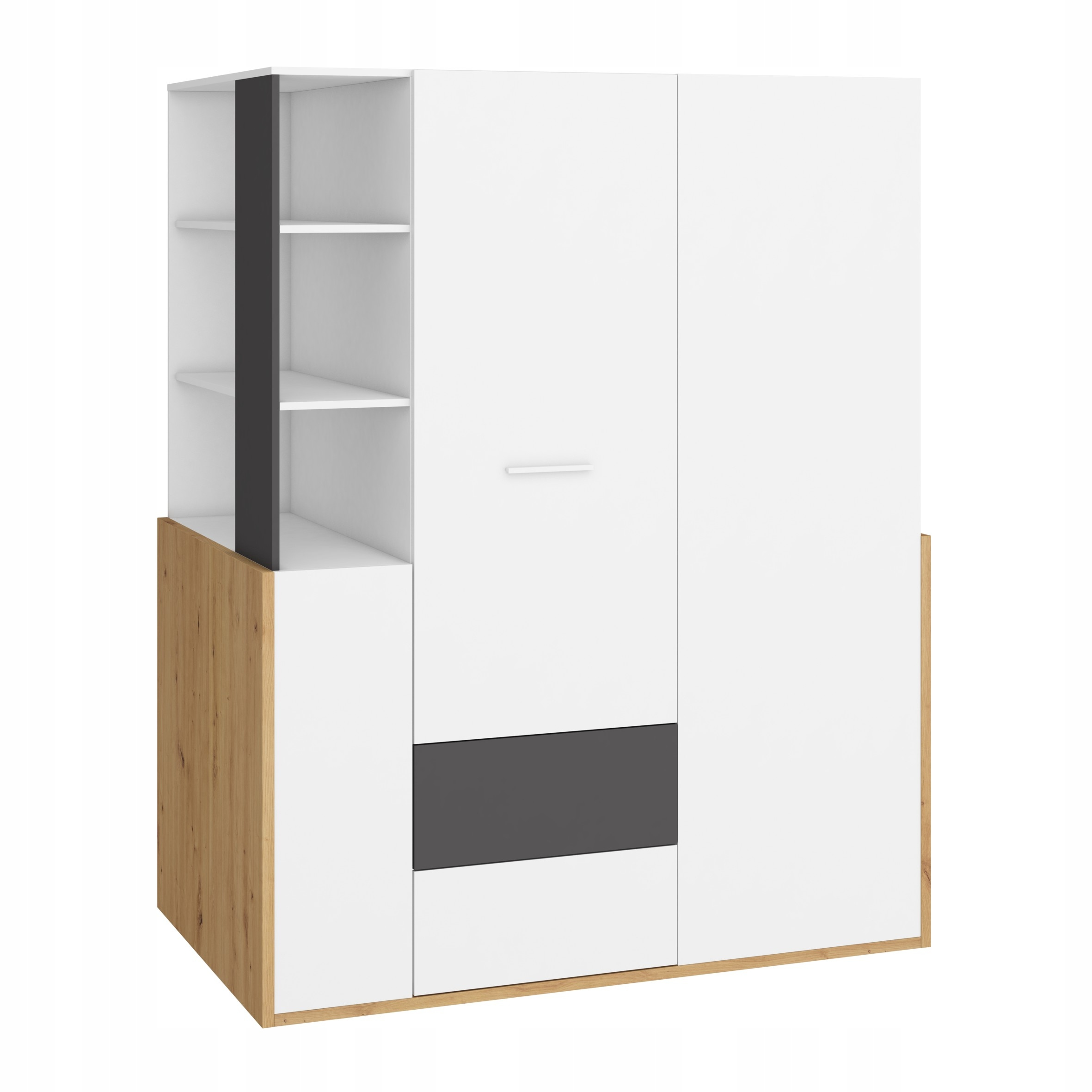 HEJ _21 nábytok, šatníková skriňa artisan 155 / biela, grafit