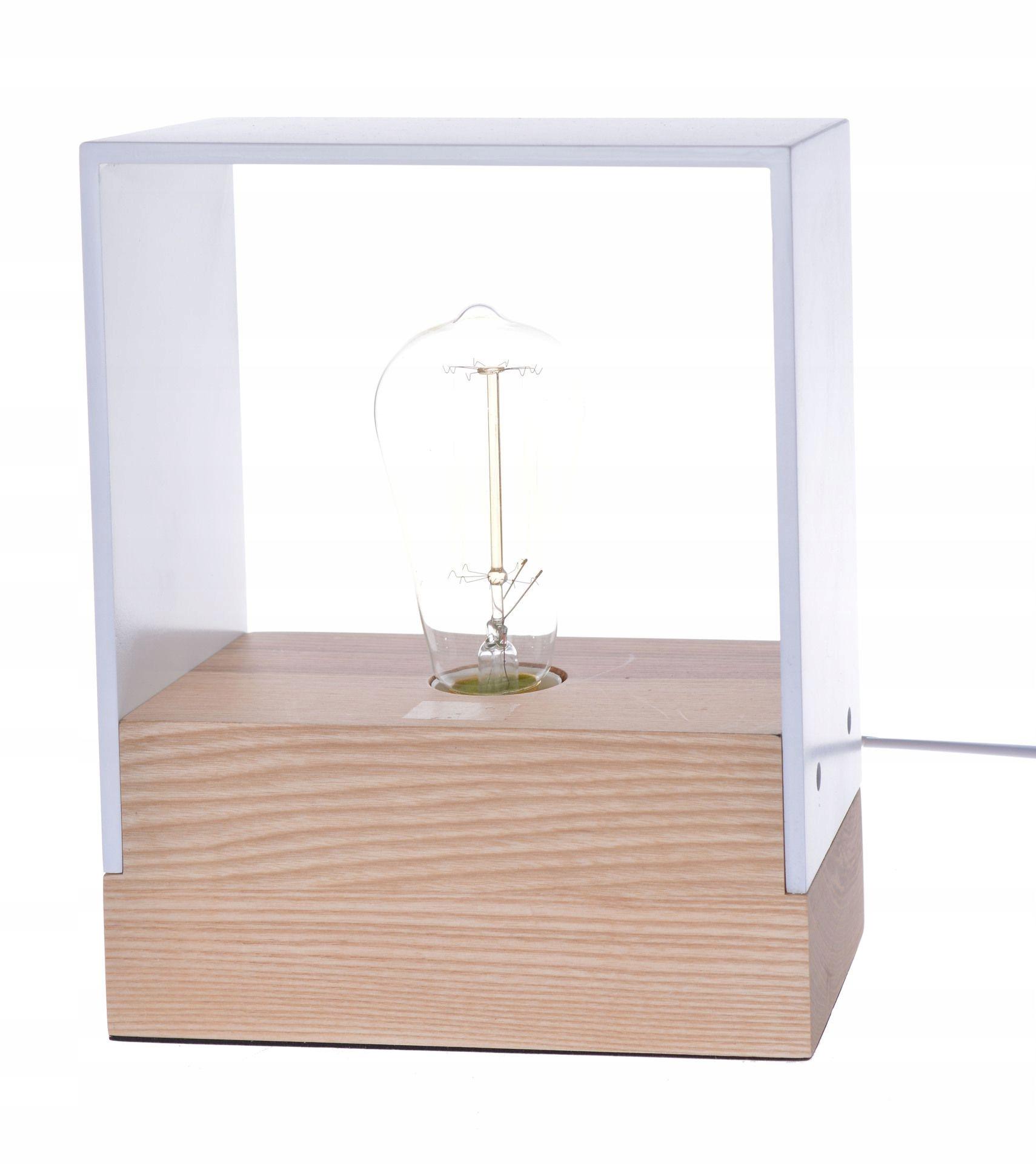 LAMPA nočný stolík BIELY KOV-DREVO