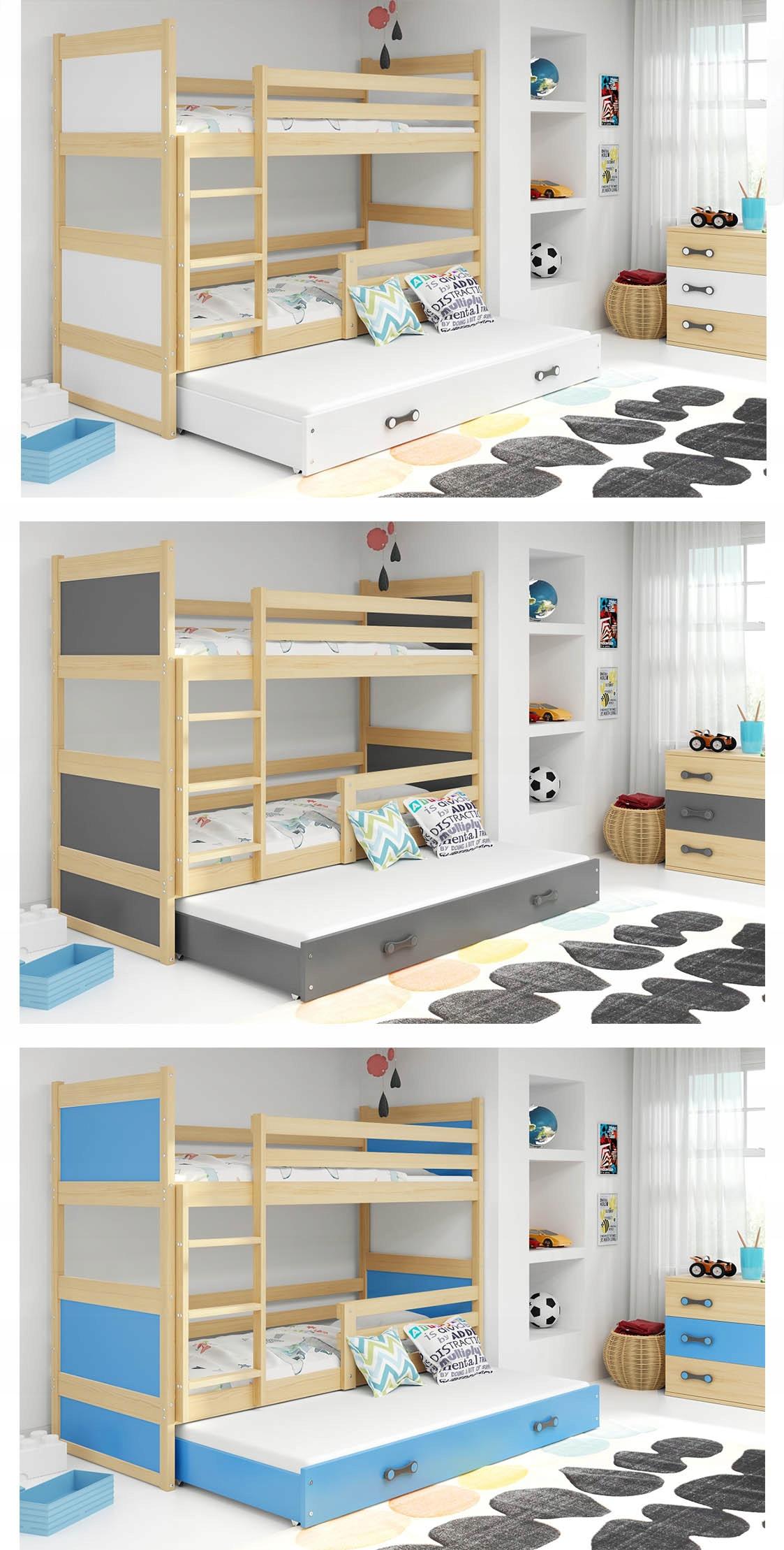 Łóżko Rico dla dzieci 190x80 piętrowe 3 osobowe Szerokość 87 cm