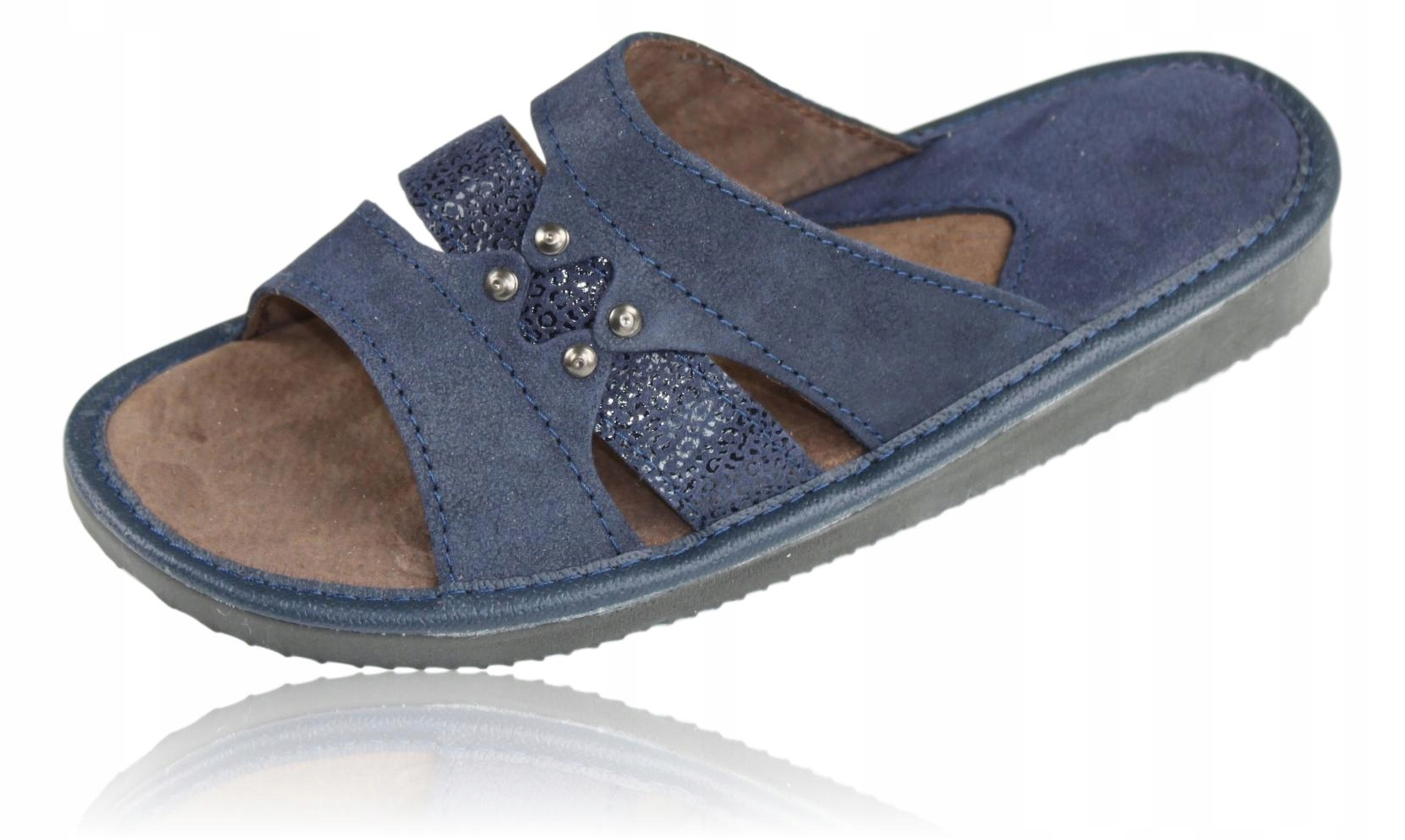 Klapki skórzane kapcie pantofle damskie 1147 40 gr