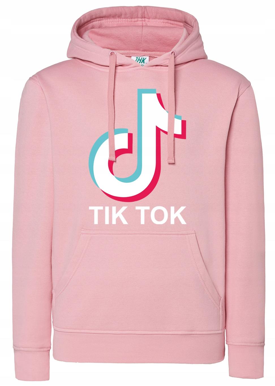 Bluza damska z kapturem Tik Tok na prezent roz L