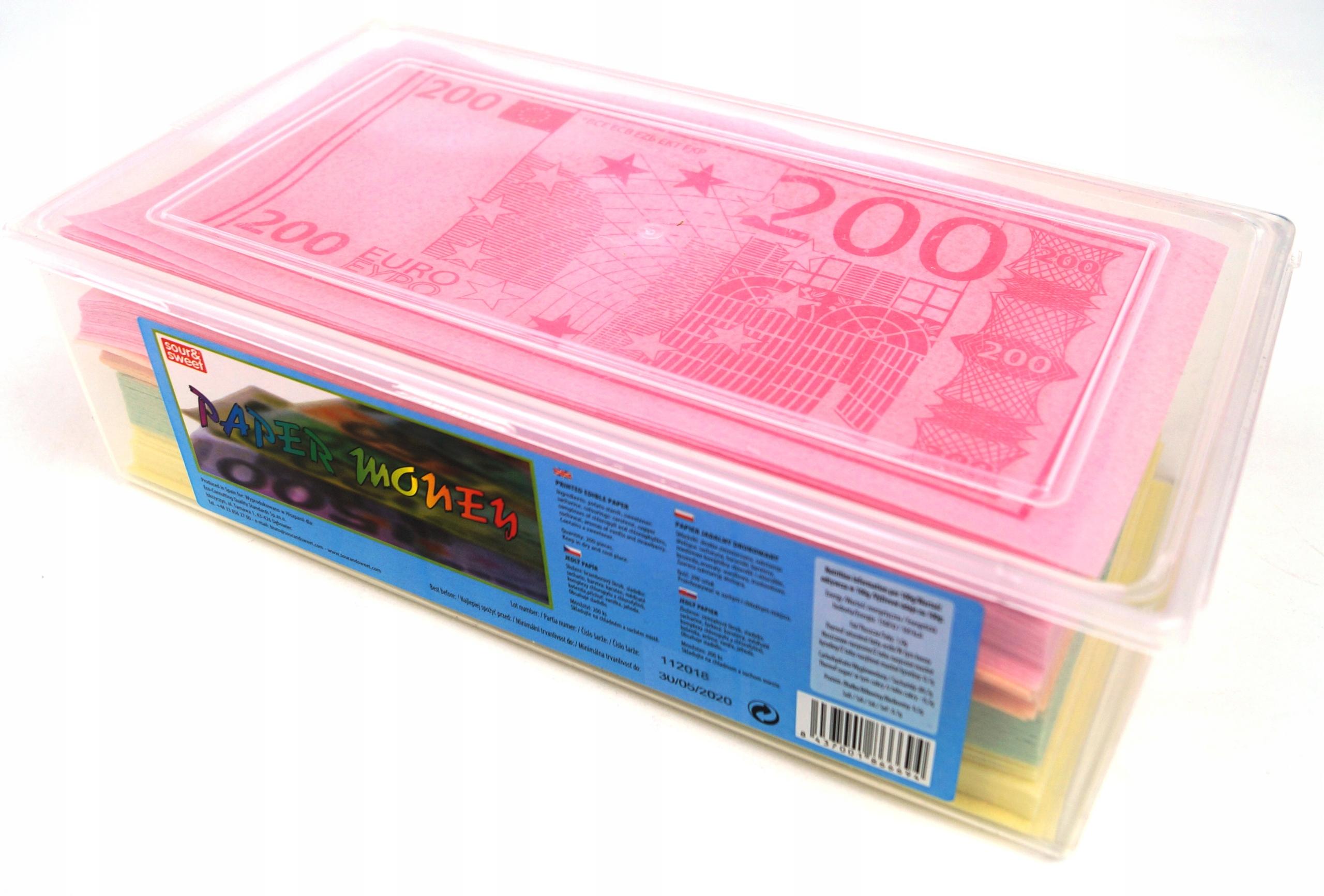 Sladké Papier Jedáleň Eurových Bankoviek 200 Ks