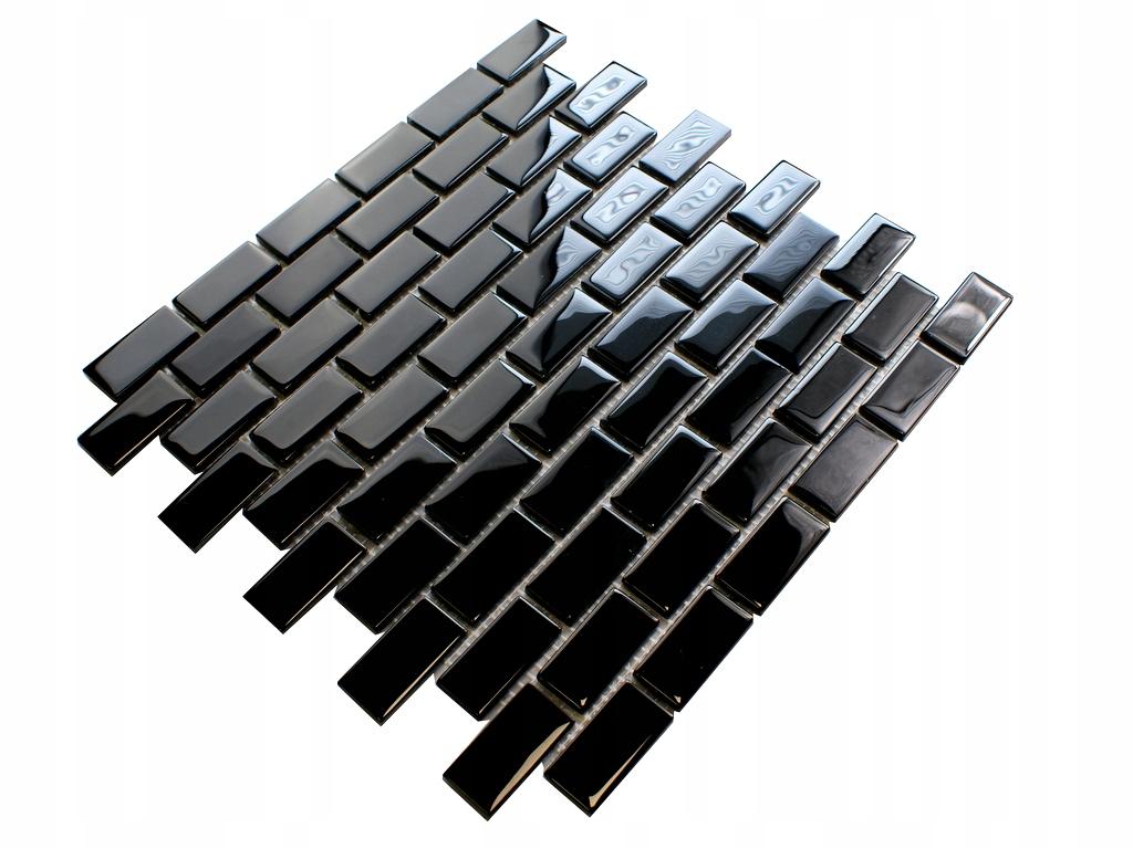 Mozaika szklana czarna CEGŁA 804 łazienka, kuchnia