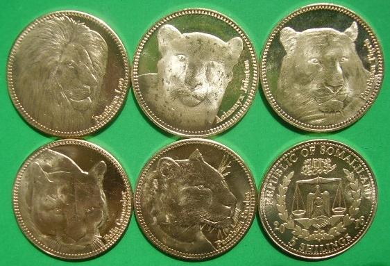 SOMALILAND zestaw 5 monet Koty drapieżne