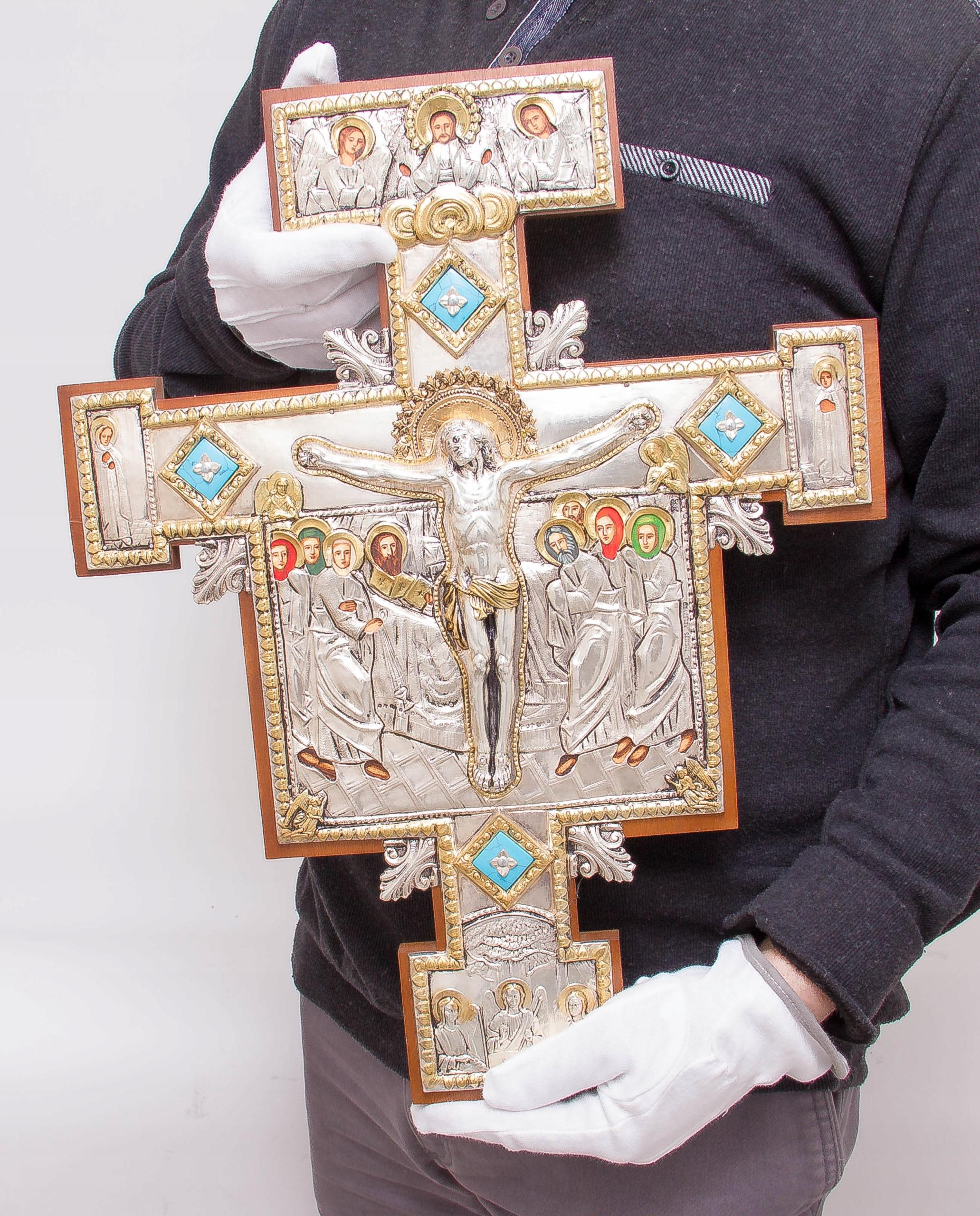 Krucyfiks Franciszkański St. Damiano ZŁOTO nr 76M Rama bez ramy