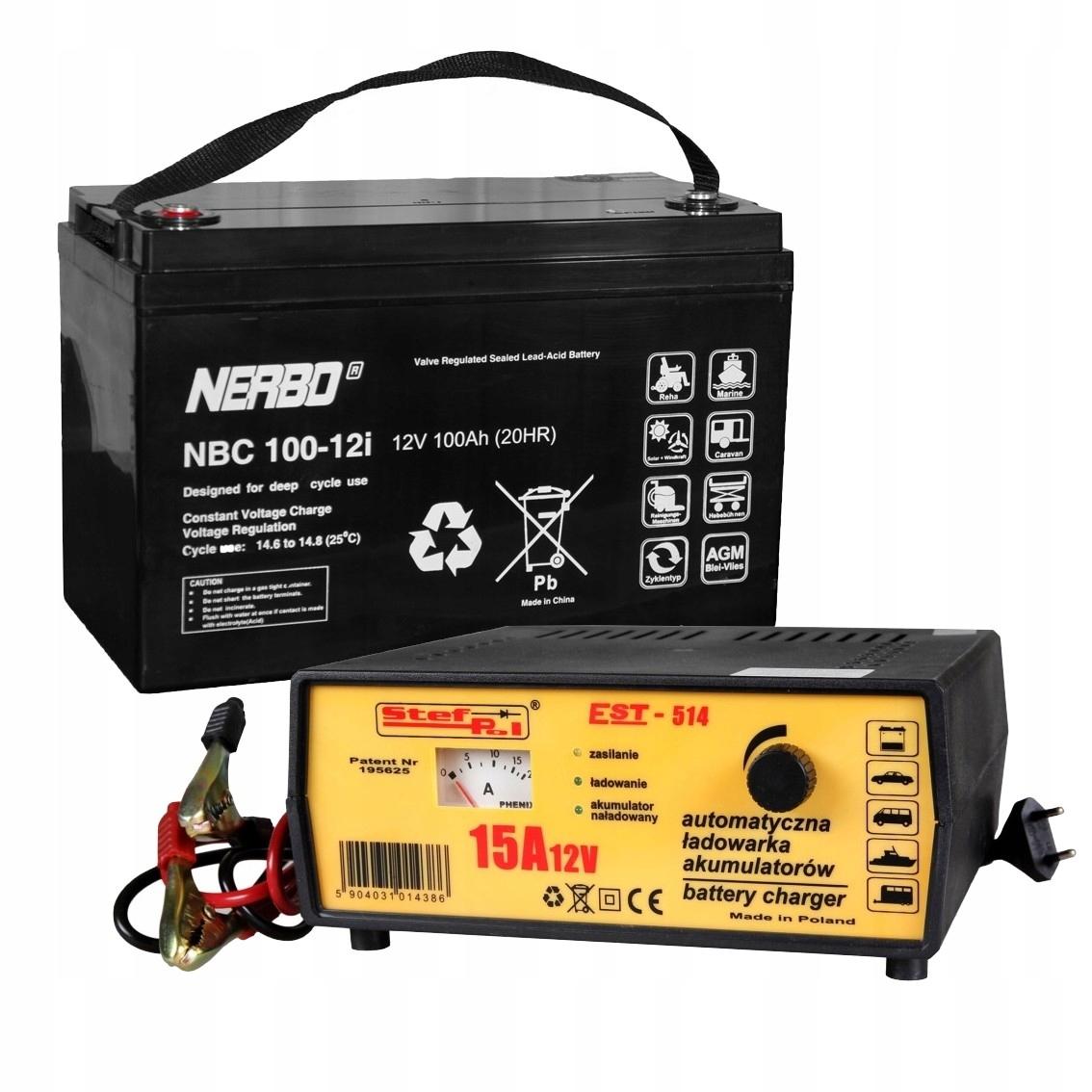 Batérie pre Pontónu V, 100 Ah batéria + Nabíjačka 15A