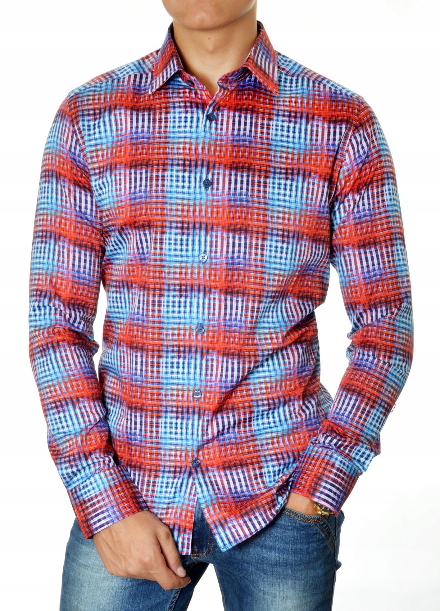 Koszula Męska Modno Casual Comfort Slim Jesień 8472999372  Ocqnd