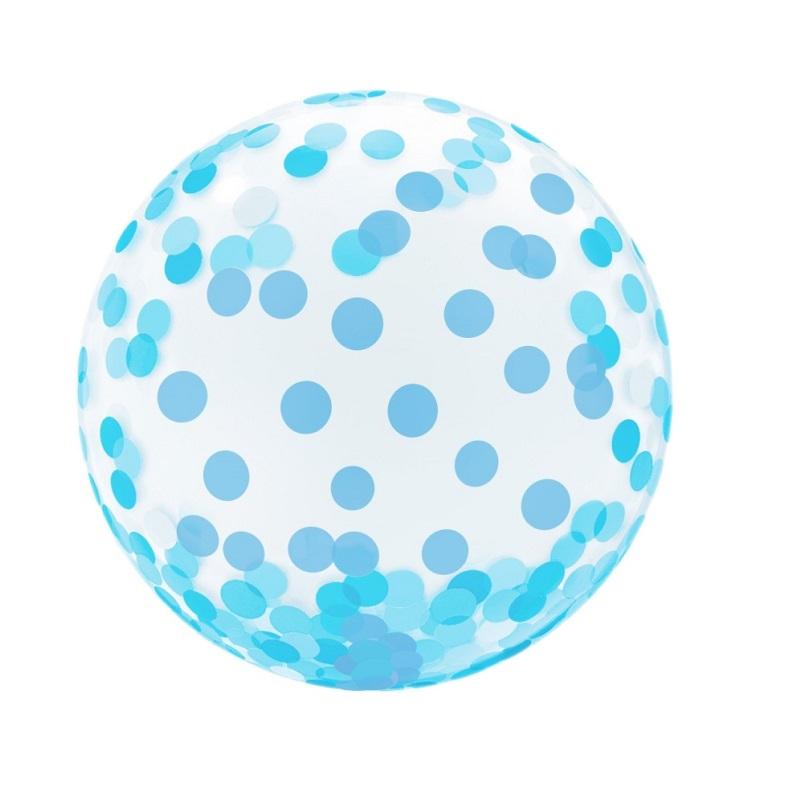 Balon Kryształowy Niebieskie Grochy-18 cali
