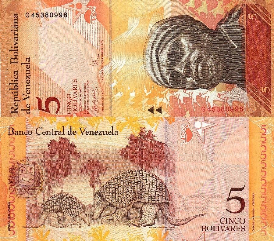 # WENEZUELA - 5 BOLIVARES - 2007 P89b UNC starszy