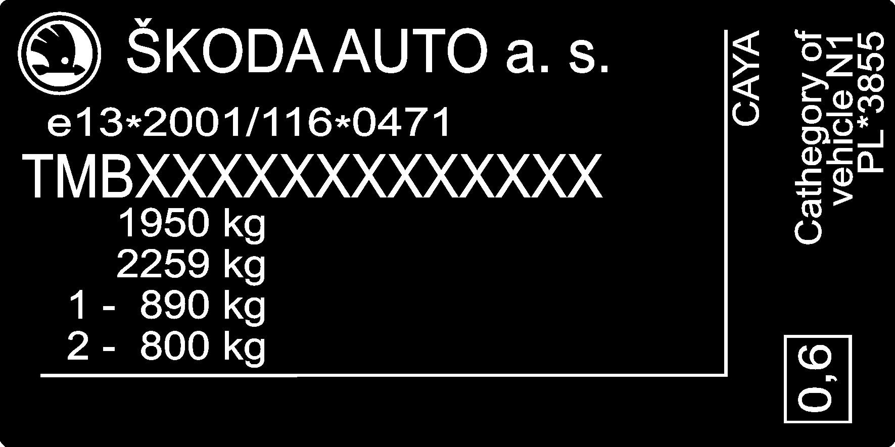 наклейка табличка мощность skoda каждый модель