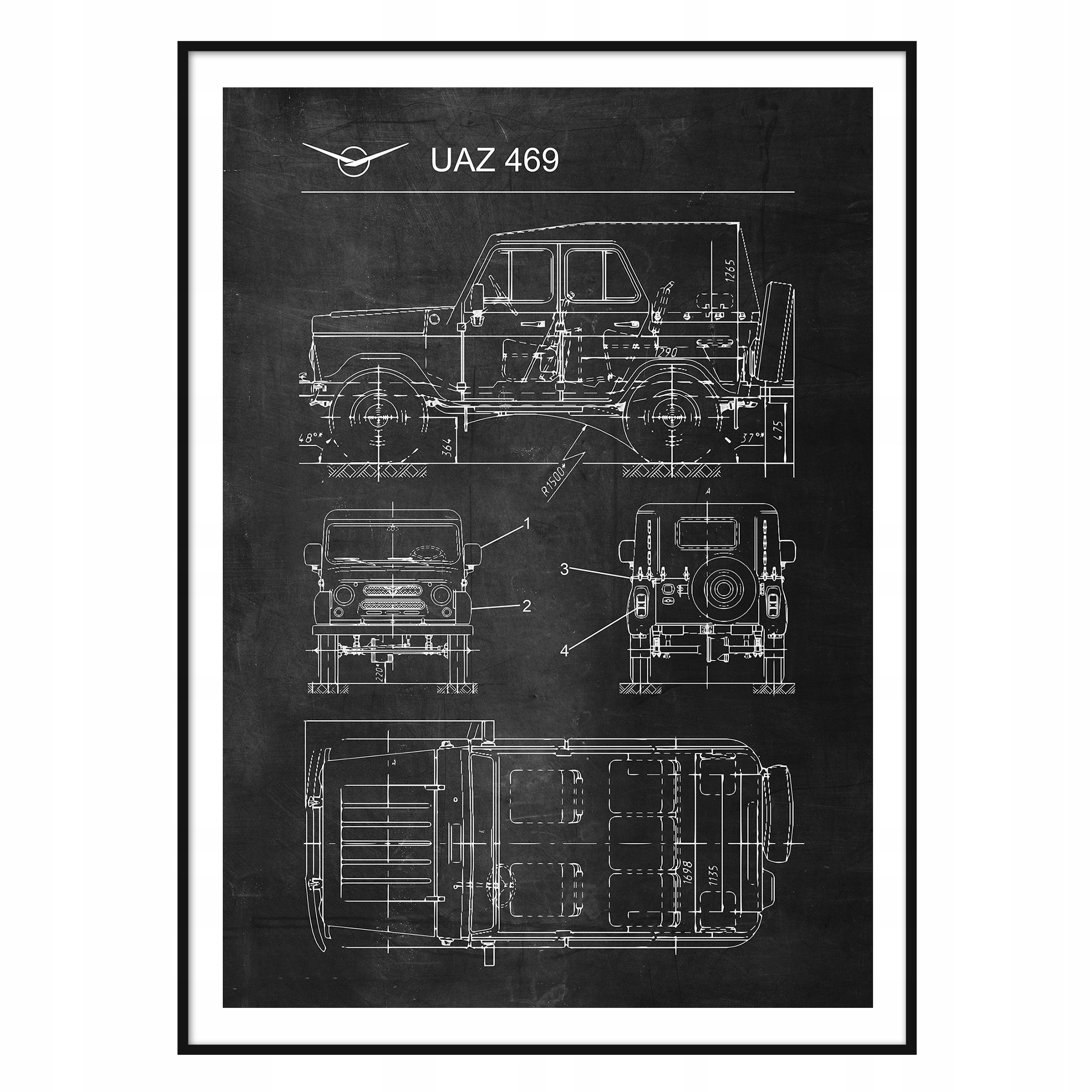 Plagát UAZ 469 Vintage Patent Plagát Auto, pnrm.
