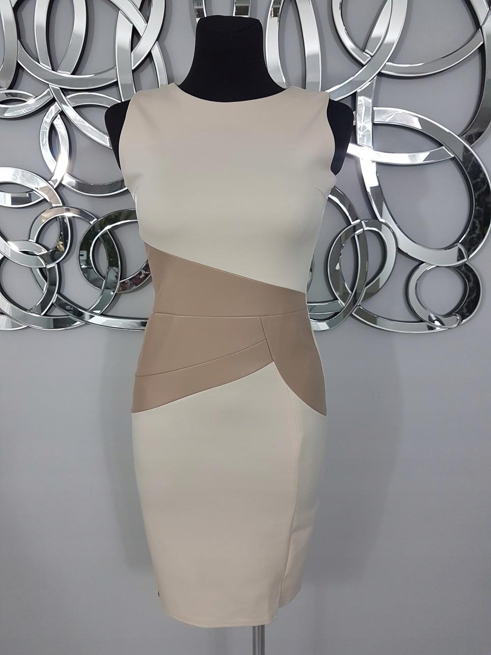 ELEGANCKA Sukienka MAKADAMIA rozm 38 M BEŻOWA