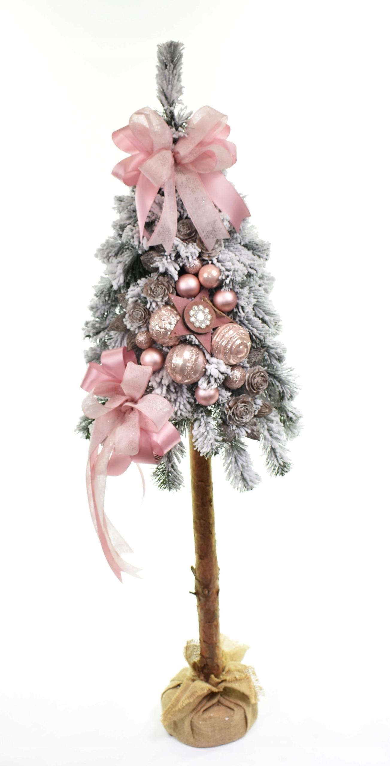 Kmeň stromu zdobený snehom v ružovej farbe, 130 cm