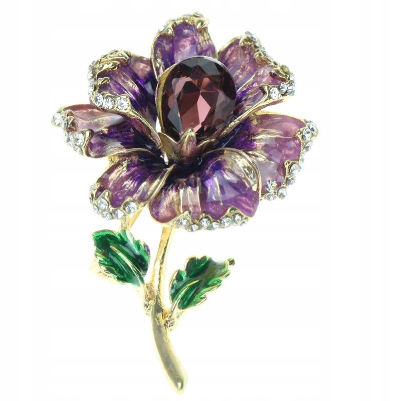 Broszka przypinka Kwiat fioletowy kamień cyrkonia