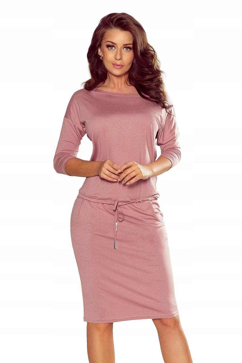 Sukienka dresowa wiązana Kieszenie Brudny Róż L 40