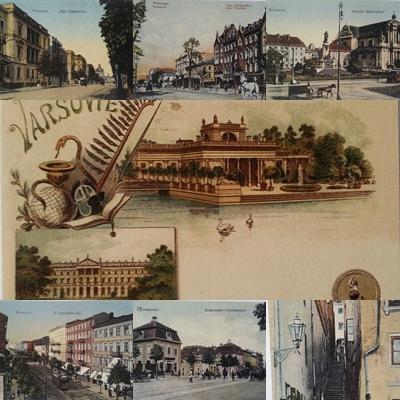 Pohľadnice Varšava Historické dotlač 7 kusov