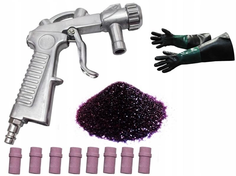 Abrazívne 25kg + pištoľ + pieskovacie rukavice