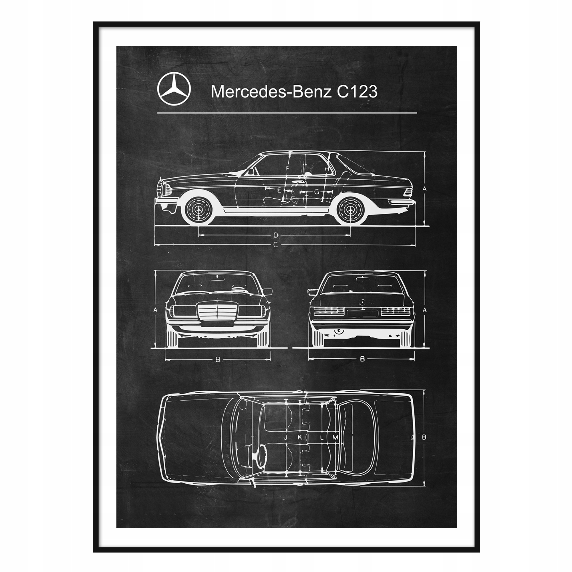 Plagát Mercedes-Benz C123 Retro-Patent Schémy