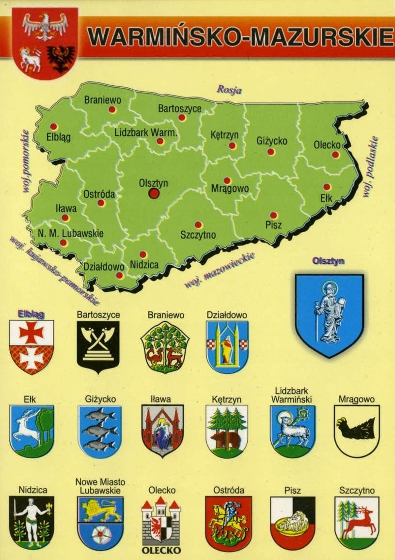 КАРТА ВАРМИЙСКО-МАЗУРСКОГО ВОЕВОДСТВА HERBY MAP WR798