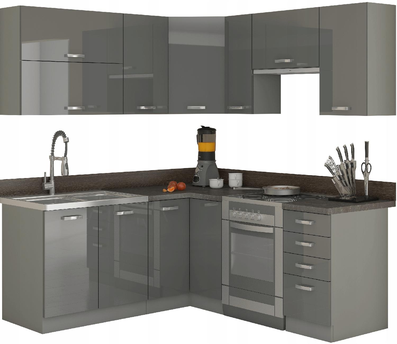 Угловая кухонная мебель 190х170 см / серый глянец