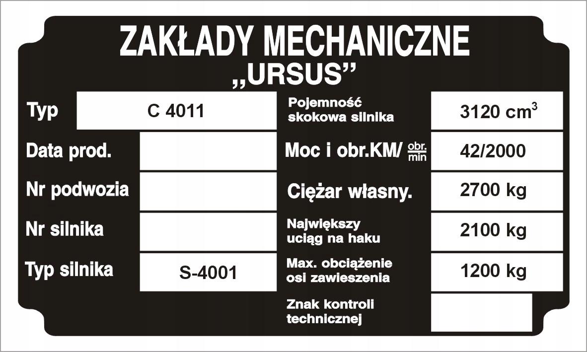 табличка мощность выпущена ursus c330 c360 c4011