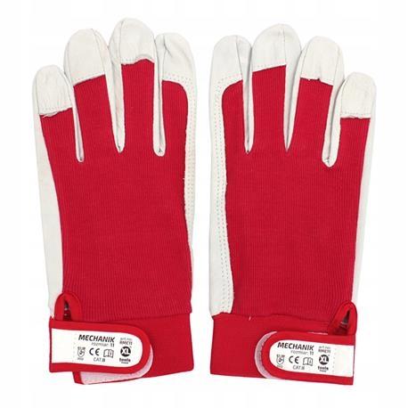 Перчатки МЕХАНИК козья кожа, 10 красные на липучке