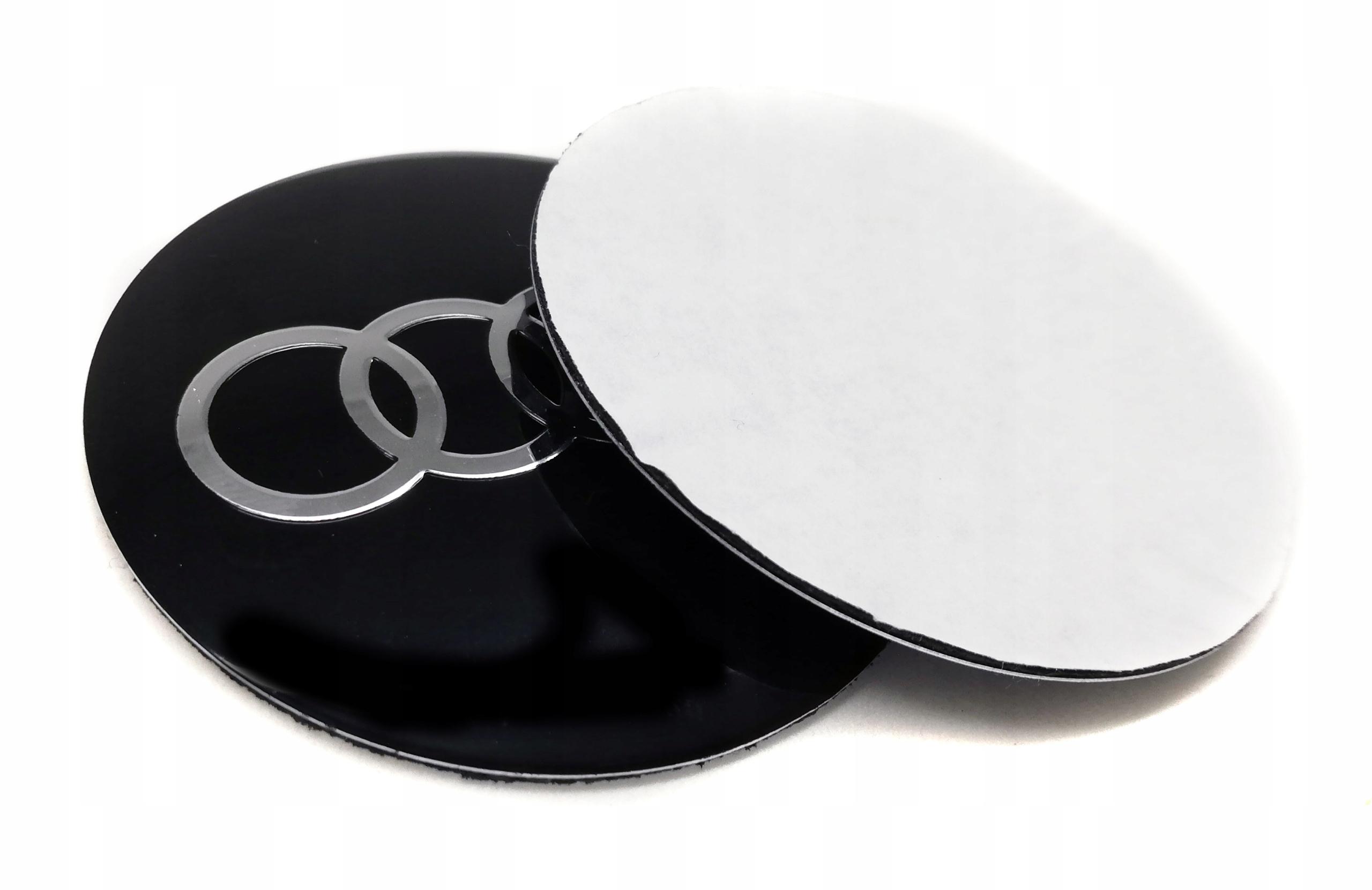 Квадратные наклейки на колпаки колпачков Audi 60мм черные