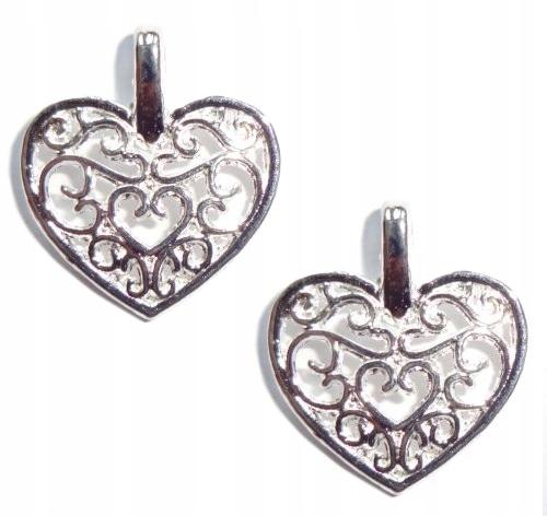 Item s14 charms PENDANTS OPENWORK HEART SILVER 6pcs