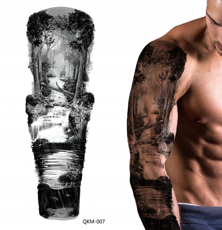 Tatuaż Zmywalny Tymczasowy Wodny Rękaw Las Drzewo