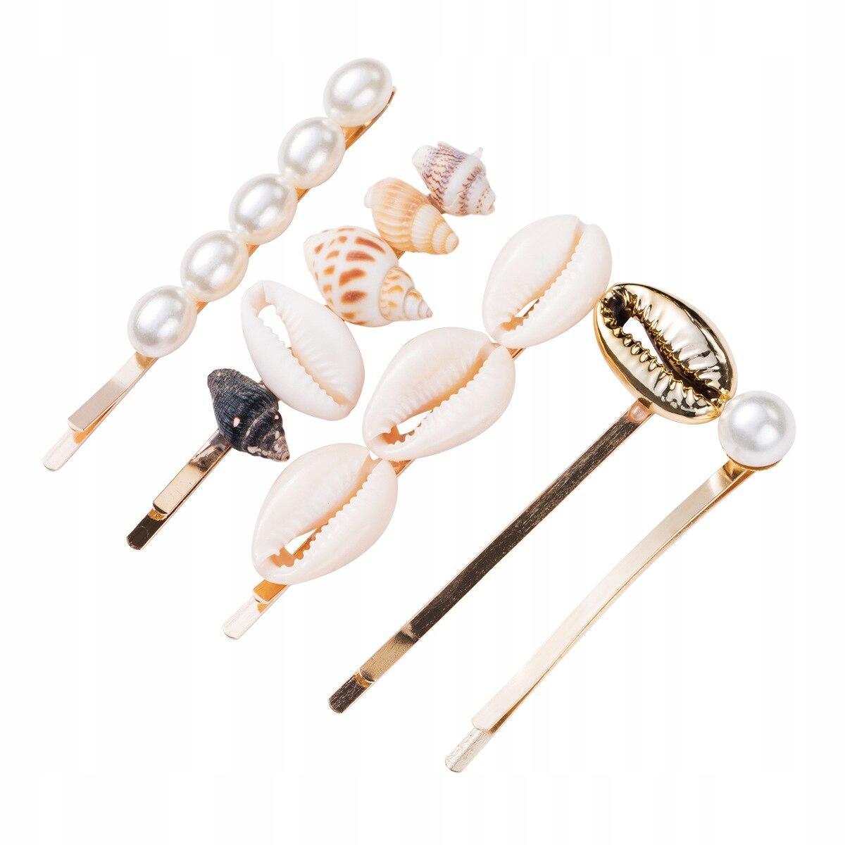 Item Barrette hair clip shell of shells, beads SET