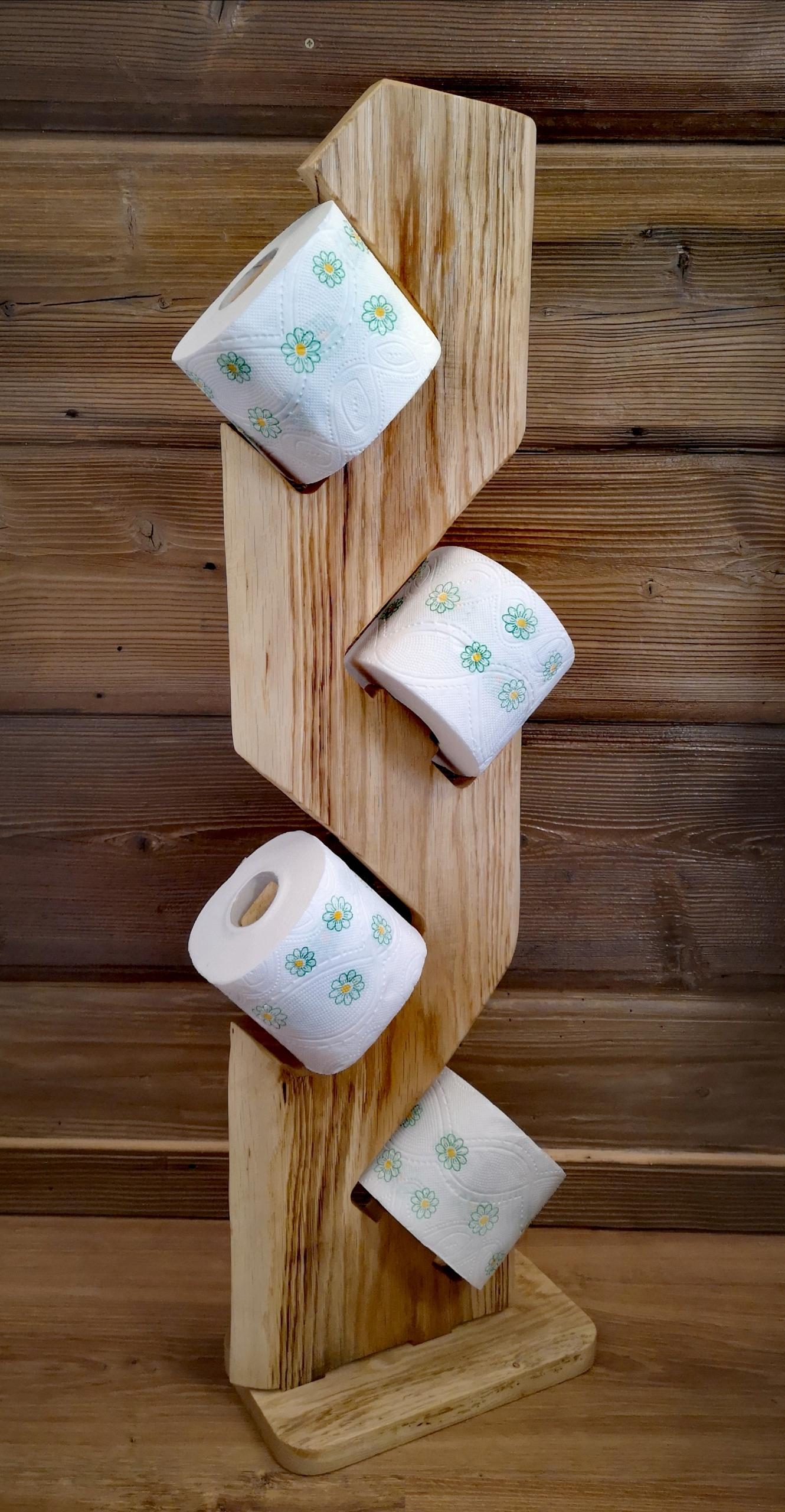 Stojak na papier toaletowy z drewna dębowego