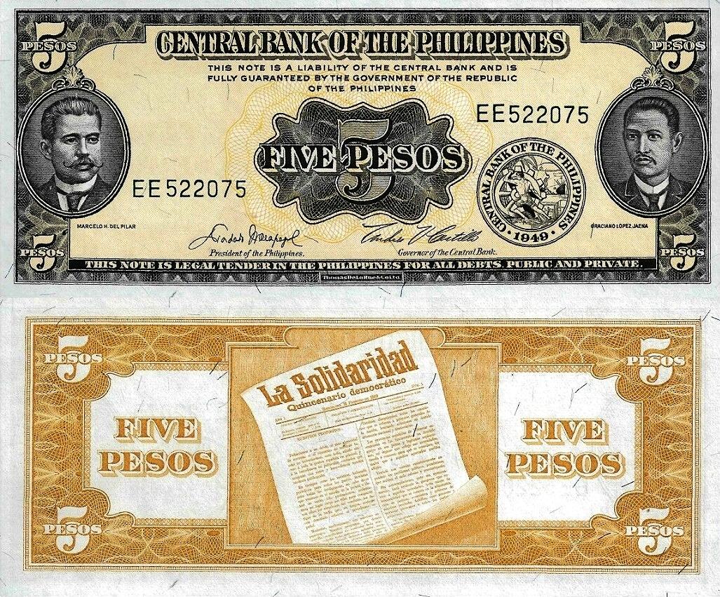 # FILIPINY - 5 PESOS -1949 - P-135 - UNC