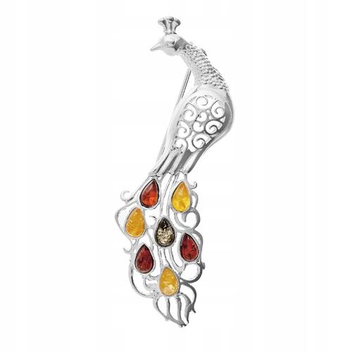 Paw ptaszek Srebrna Brosza broszka z Bursztynem