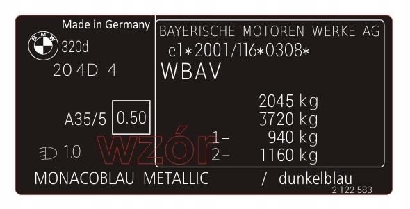 табличка  наклейка мощность bmw