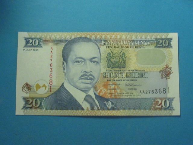 Kenia Banknot 20 Shillings 1995 AA !! P-32 UNC