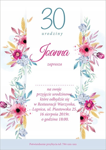 Item Invitations for birthday party for adults 30tkę 40 50