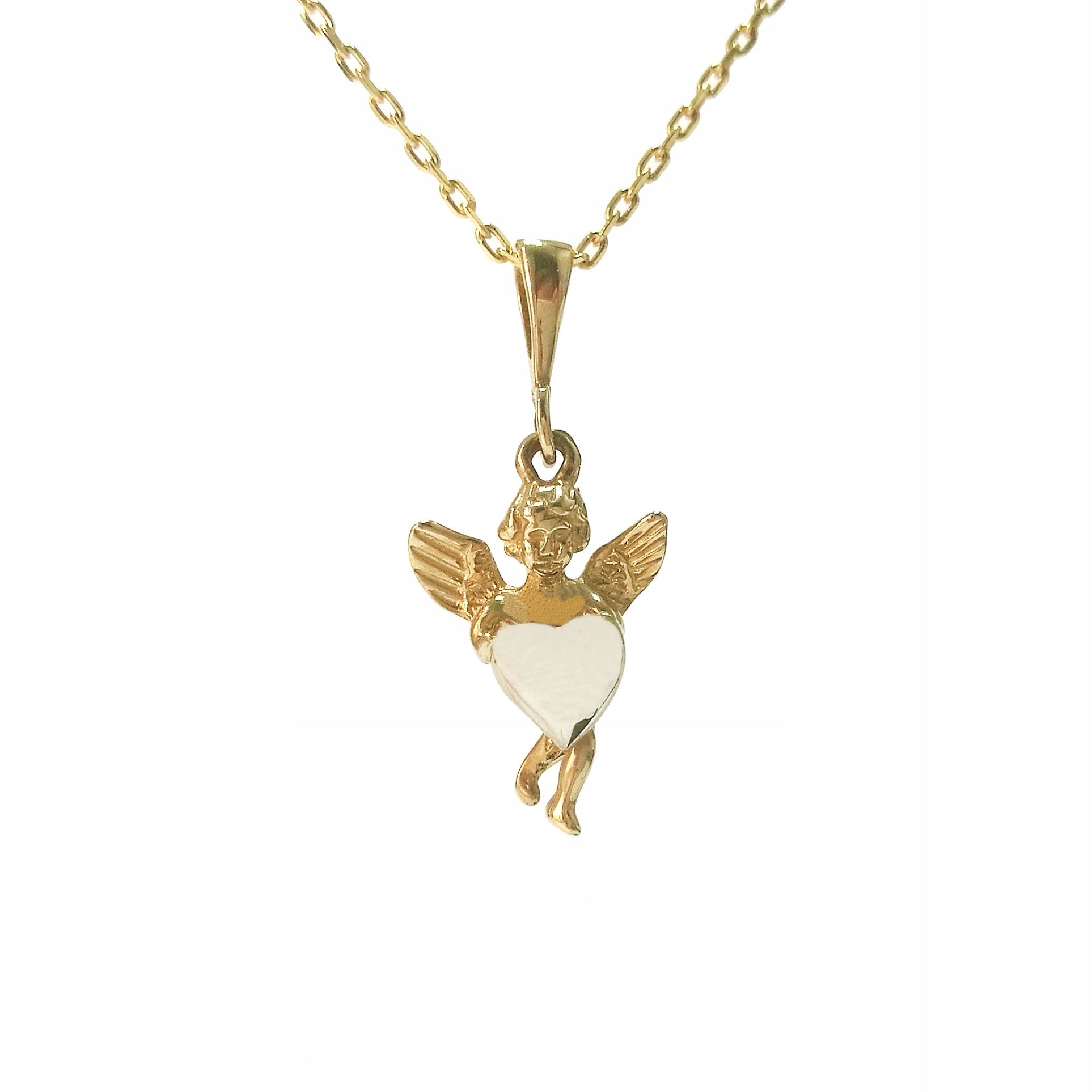 Zlatý prívesok anjel s srdca biele zlato