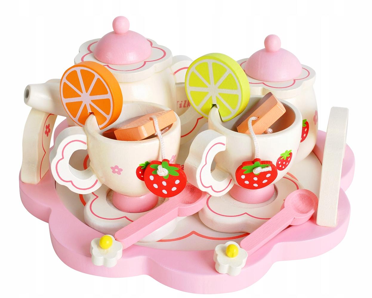 Drevený kávový čajový servis pre deti pre bábiky