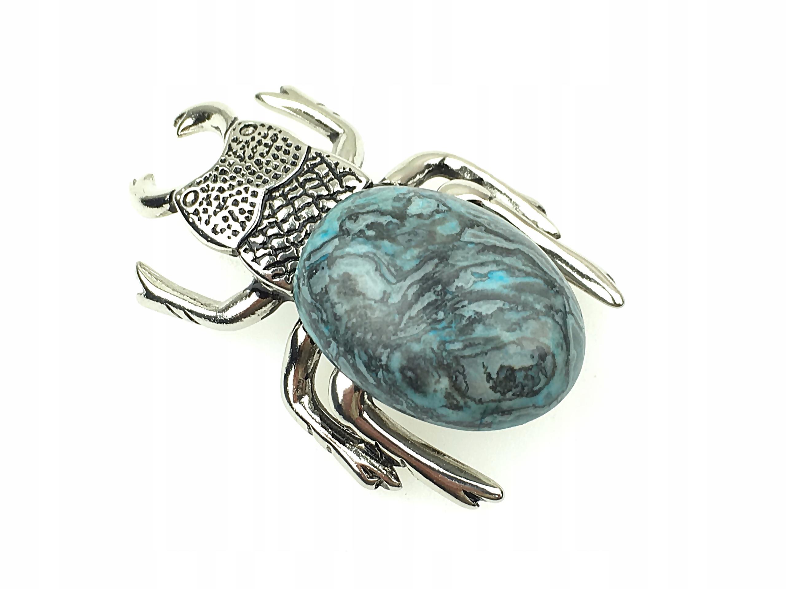 broszka niebieski agat skarabeusz ametrix