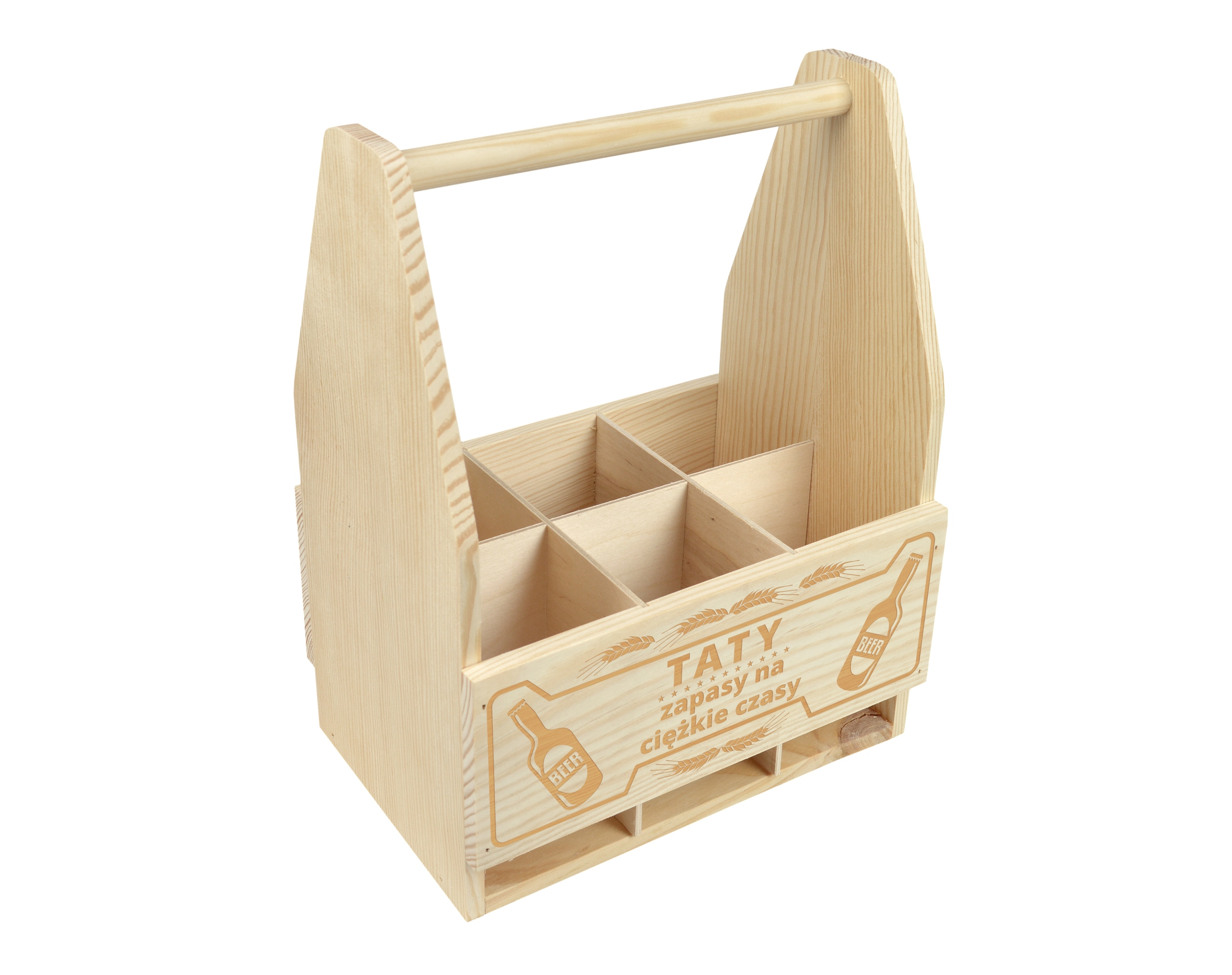 Item WOODEN BOX-CARRYING BEER ENGRAVER GIFT