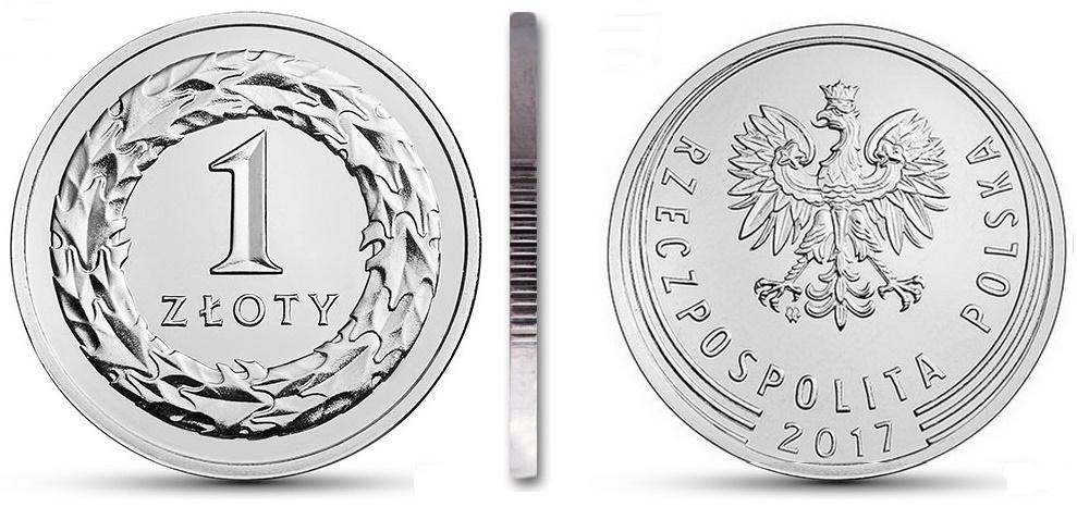 Монета 1 злотый 2017 мятная из мешочка